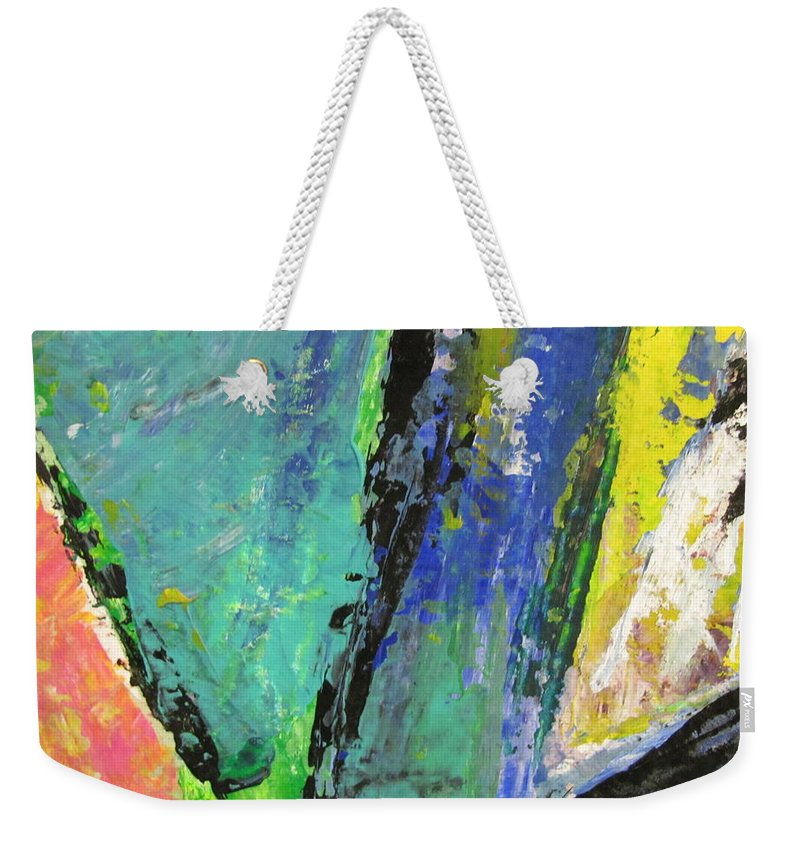 Abstract Weekender Tote Bag featuring the painting Abstract Piano 5 by Anita Burgermeister