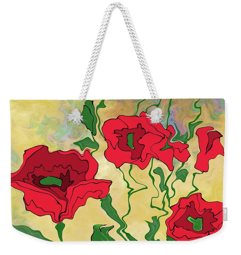 Abstract Poppies Weekender Tote Bag featuring the digital art Abstract Poppies by Priscilla Wolfe