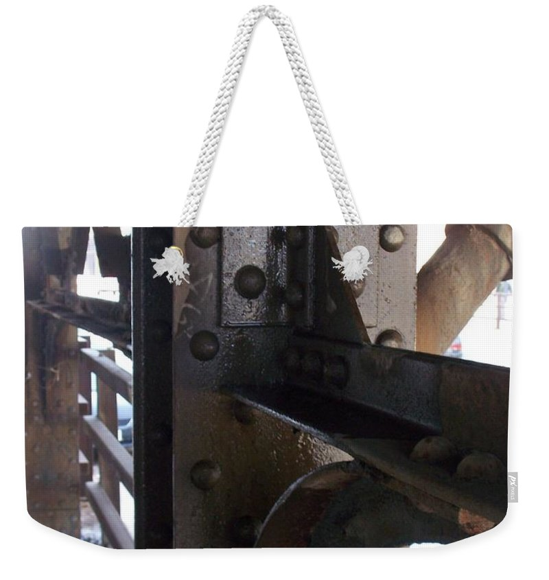 Industrial Weekender Tote Bag featuring the photograph Abstract Rust 5 by Anita Burgermeister