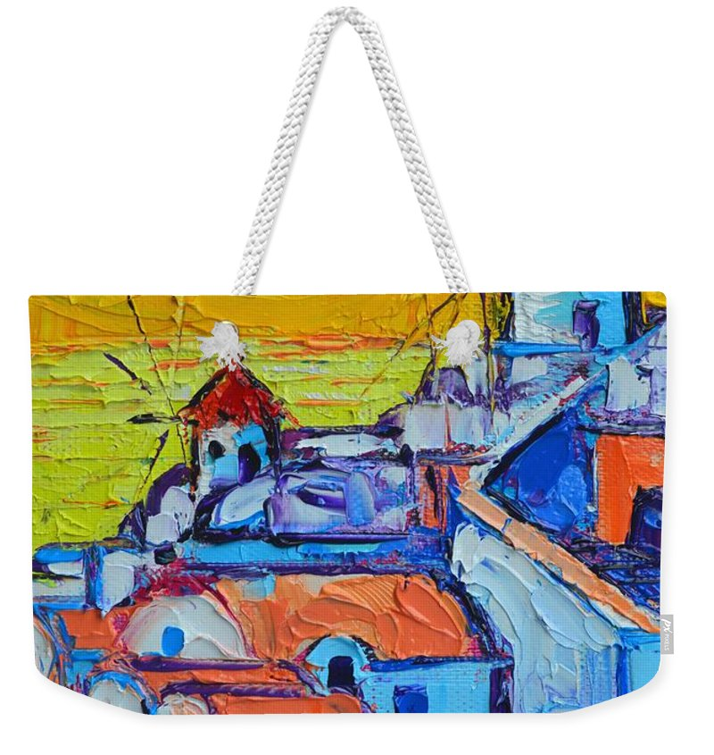 Santorini Weekender Tote Bag featuring the painting Abstract Santorini Sunset Oia Windmills by Ana Maria Edulescu