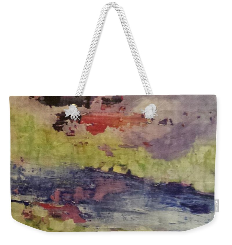Abstract Weekender Tote Bag featuring the painting Abstract Series Dreaming by Sherry Harradence