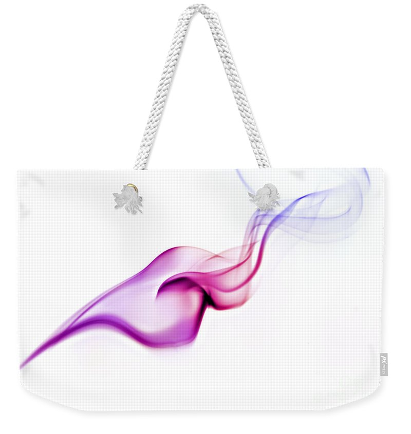 Purple Weekender Tote Bag featuring the photograph Abstract Smoke by Yedidya yos mizrachi