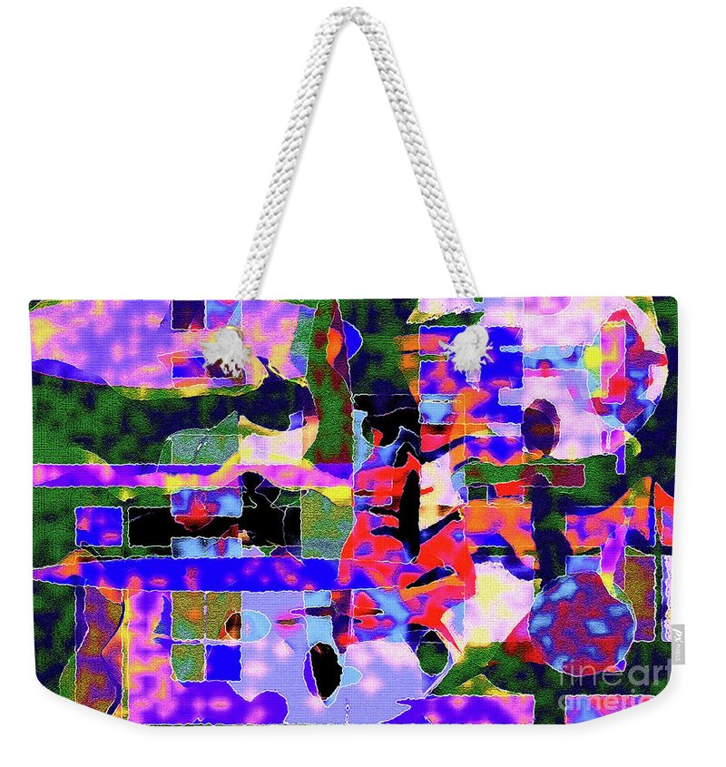 Green Weekender Tote Bag featuring the photograph Abstract Sports Montage by Andee Design