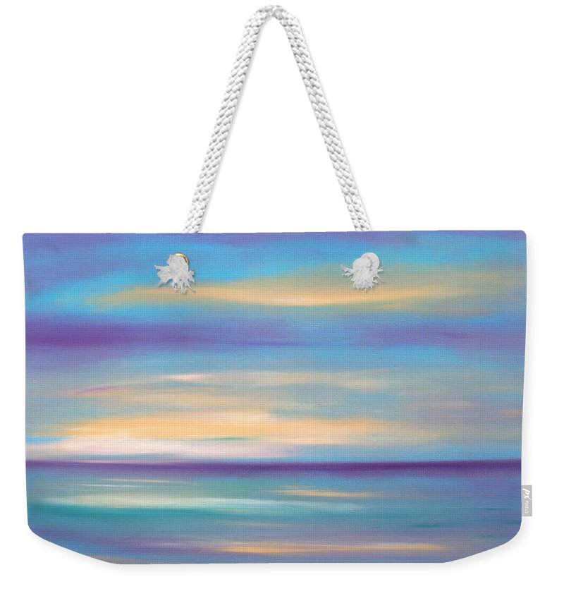 Oil Painting Sunsets Weekender Tote Bag featuring the painting Abstract Sunset In Purple Blue And Yellow by Gina De Gorna