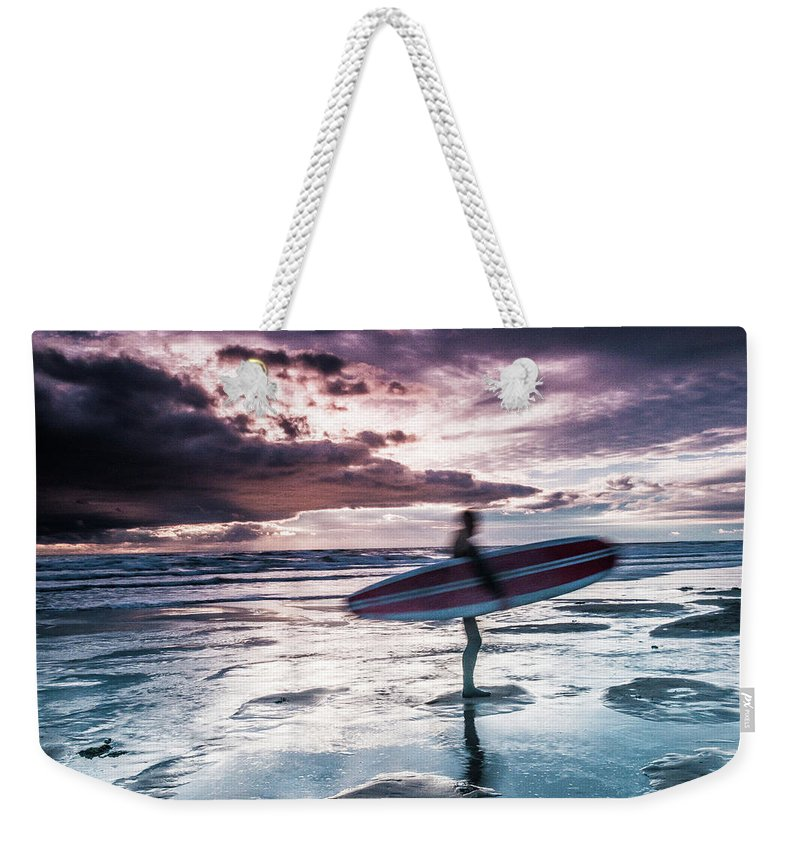 Colour Weekender Tote Bag featuring the photograph Abstract Surfer by Kevin Kothandaraman