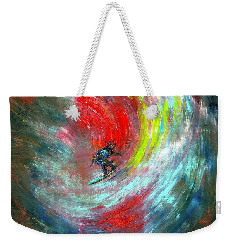 Surfer Weekender Tote Bag featuring the painting Abstract Surfer by Paul Emig