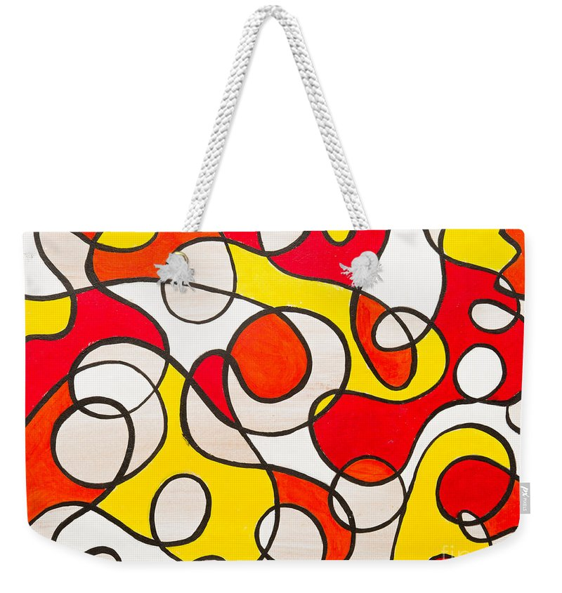 Abstract Weekender Tote Bag featuring the painting Abstract Swirls by Stefanie Forck