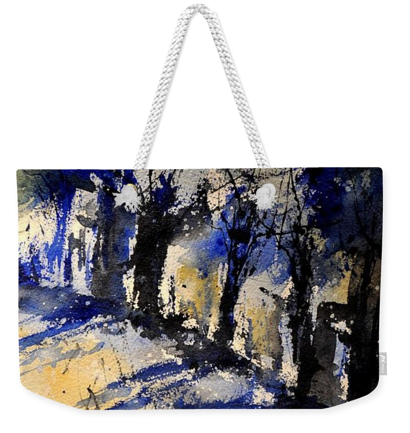 Abstract Weekender Tote Bag featuring the painting Abstract Trees by Pol Ledent