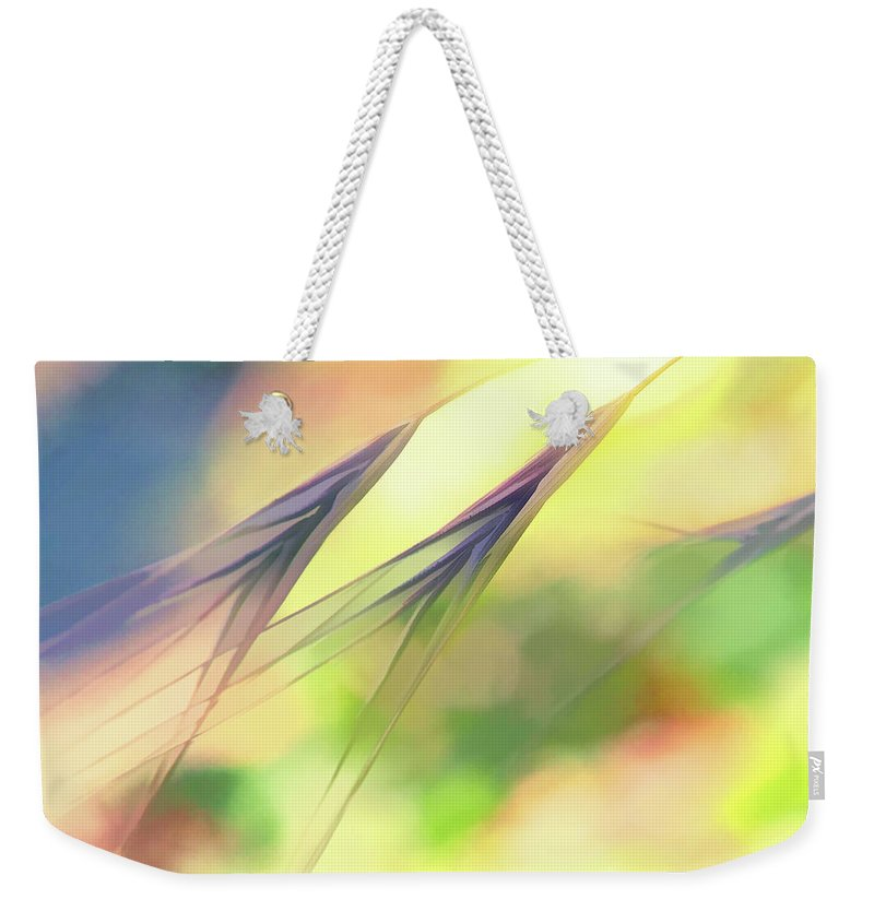 Weeds Weekender Tote Bag featuring the digital art Abstract Weeds Yellow by Terry Davis