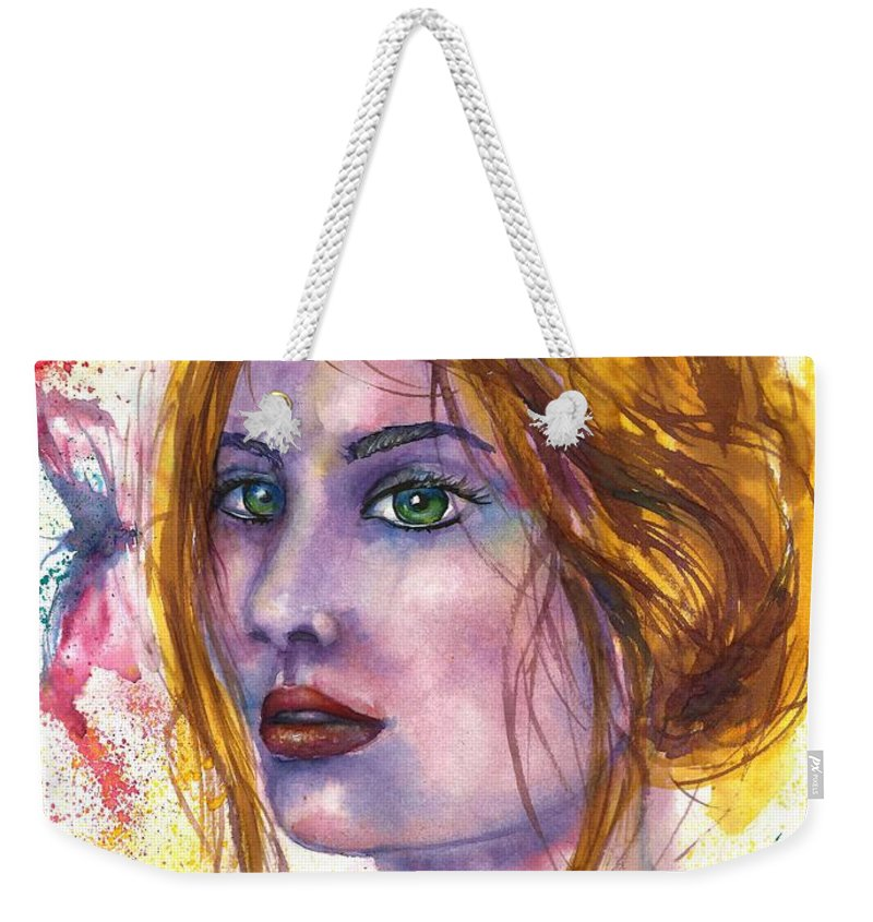 Women Face Weekender Tote Bag featuring the painting Abstract women face by Natalja Picugina