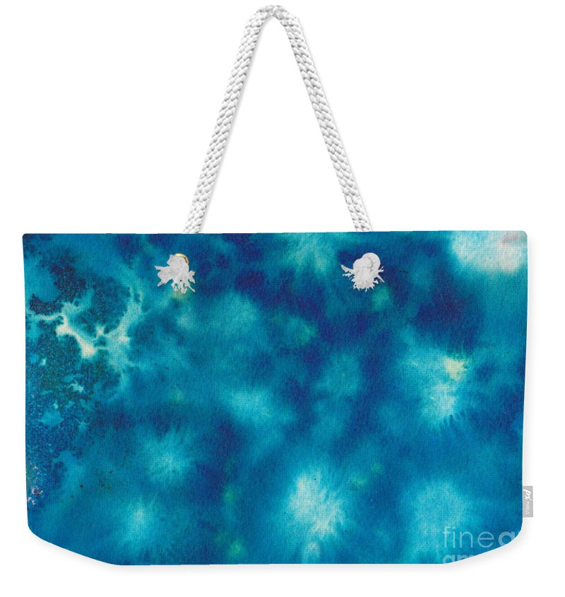 Blue Weekender Tote Bag featuring the painting Abstract.16 by Linda Stout