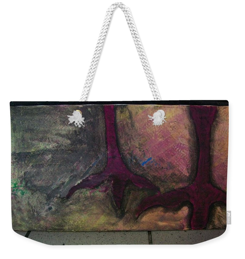 Crow Weekender Tote Bag featuring the painting Abstracty Crows Feet by Laurette Escobar