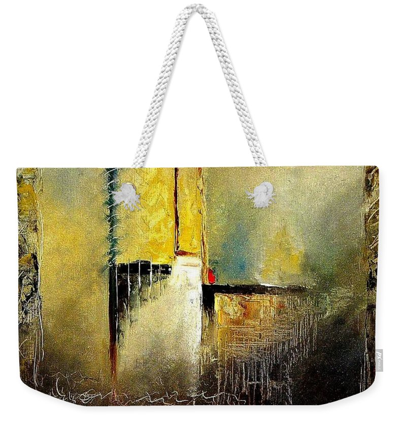 Abstract Weekender Tote Bag featuring the painting Abstrct 3 by Pol Ledent