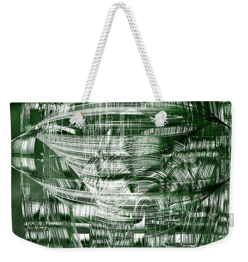Rithmart Abstract Lines Organic Random Computer Digital Shapes Acanvas Art Background Black Cloudy Dark Designed Digital Display Gray Green Images Interesting One Series Shapes Streaming Using White Weekender Tote Bag featuring the digital art Ac-7-182-#rithmart by Gareth Lewis