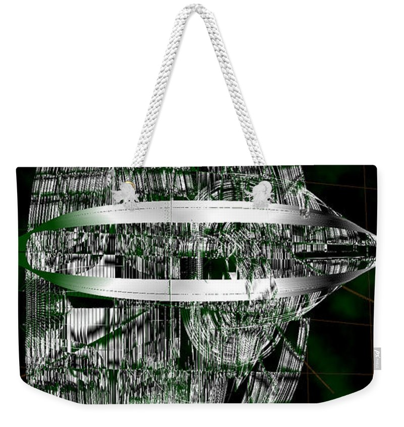 Rithmart Abstract Lines Organic Random Computer Digital Shapes Acanvas Art Background Black Cloudy Dark Designed Digital Display Gray Green Images Interesting One Series Shapes Streaming Using White Weekender Tote Bag featuring the digital art Ac-7-183-#rithmart by Gareth Lewis