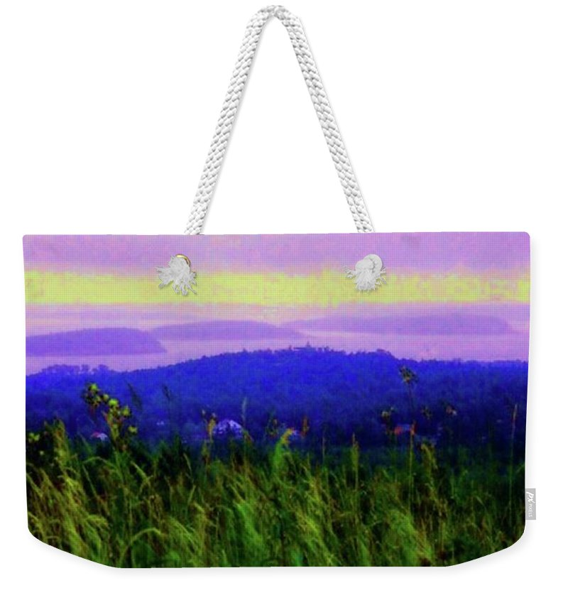 Acadia Weekender Tote Bag featuring the mixed media Acadia Sunrise by Desiree Paquette