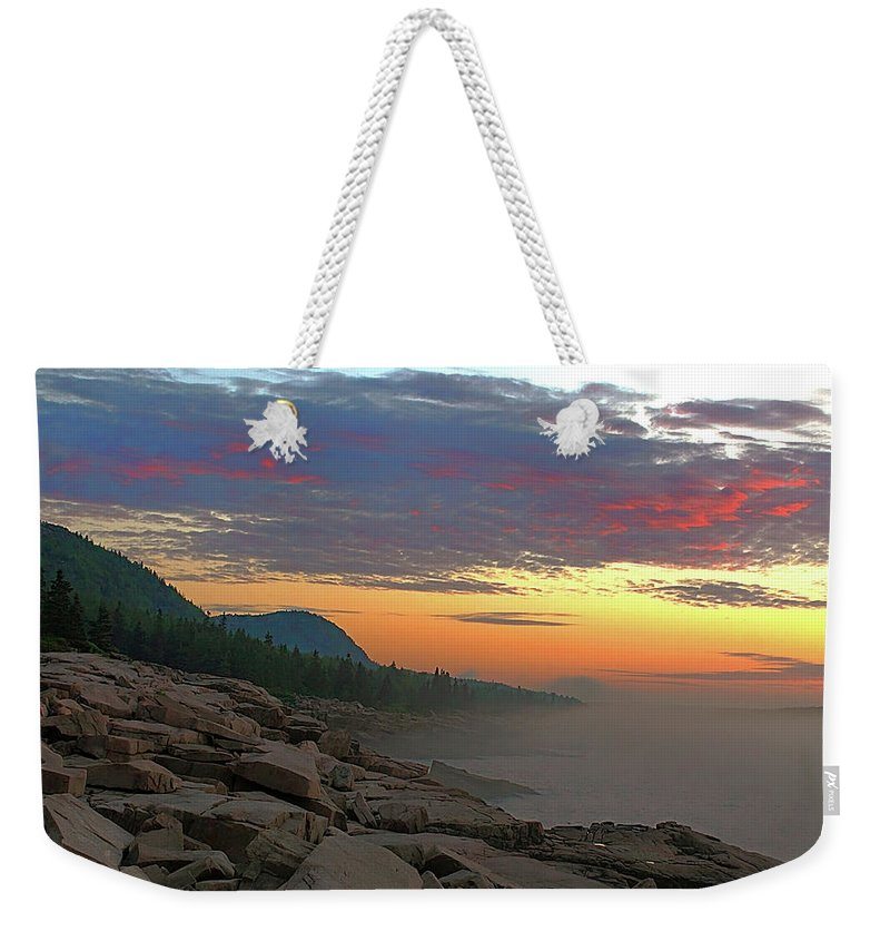 Acadia National Park Weekender Tote Bag featuring the photograph Acadia Sunrise by Jeff Heimlich