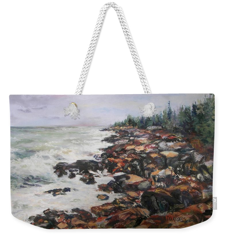 Acadia National Park Weekender Tote Bag featuring the pastel Acadian Afternoon by Alicia Drakiotes