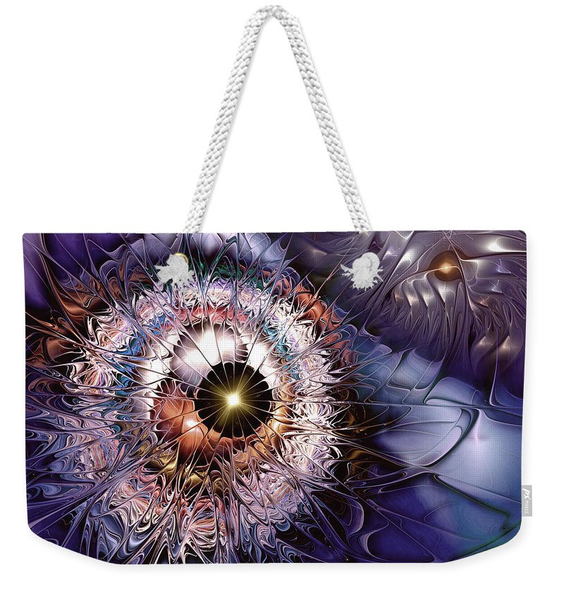Abstract Weekender Tote Bag featuring the digital art Accelerating The Process Within by Casey Kotas