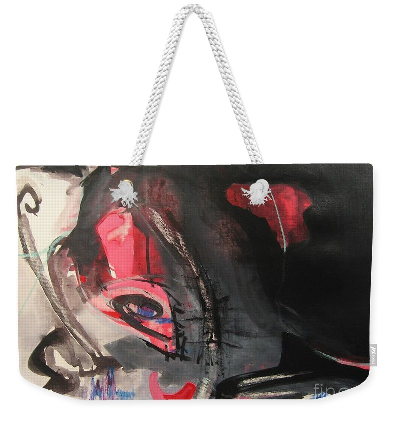 Abstract Paintings Paintings Abstract Art Paintings Weekender Tote Bag featuring the painting Accessible To Nobody by Seon-Jeong Kim