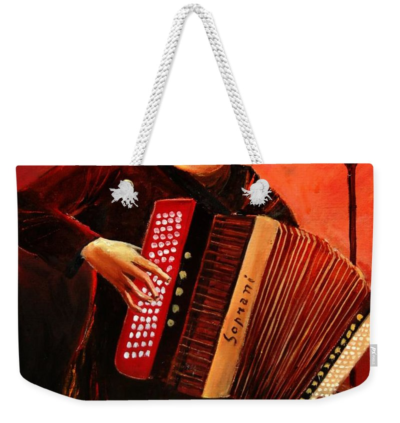 Music Weekender Tote Bag featuring the print Accordeon by Pol Ledent
