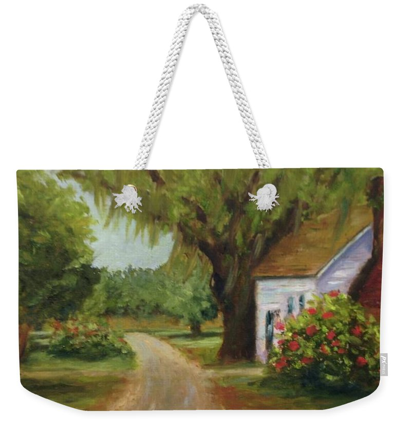 This Is A Little Out Building Off Of Grove Plantation Home At Ace Basin Close To Charleston Weekender Tote Bag featuring the painting Ace Basin Cottage by Rosie Phillips
