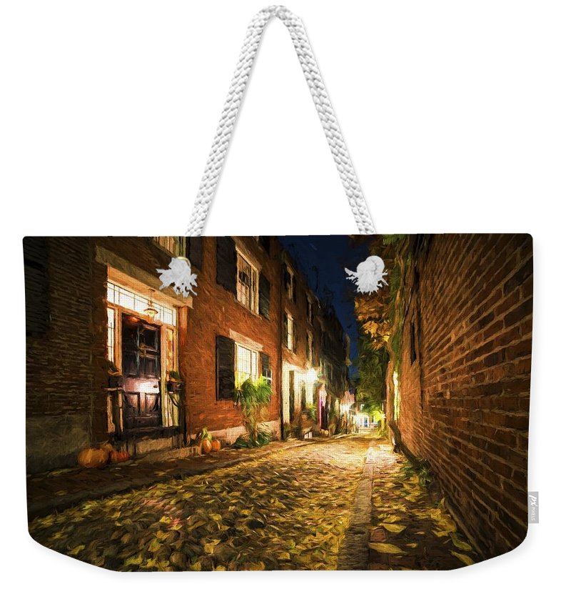 Acorn Weekender Tote Bag featuring the photograph Acorn Street Autumn Boston Mass Painterly by Toby McGuire