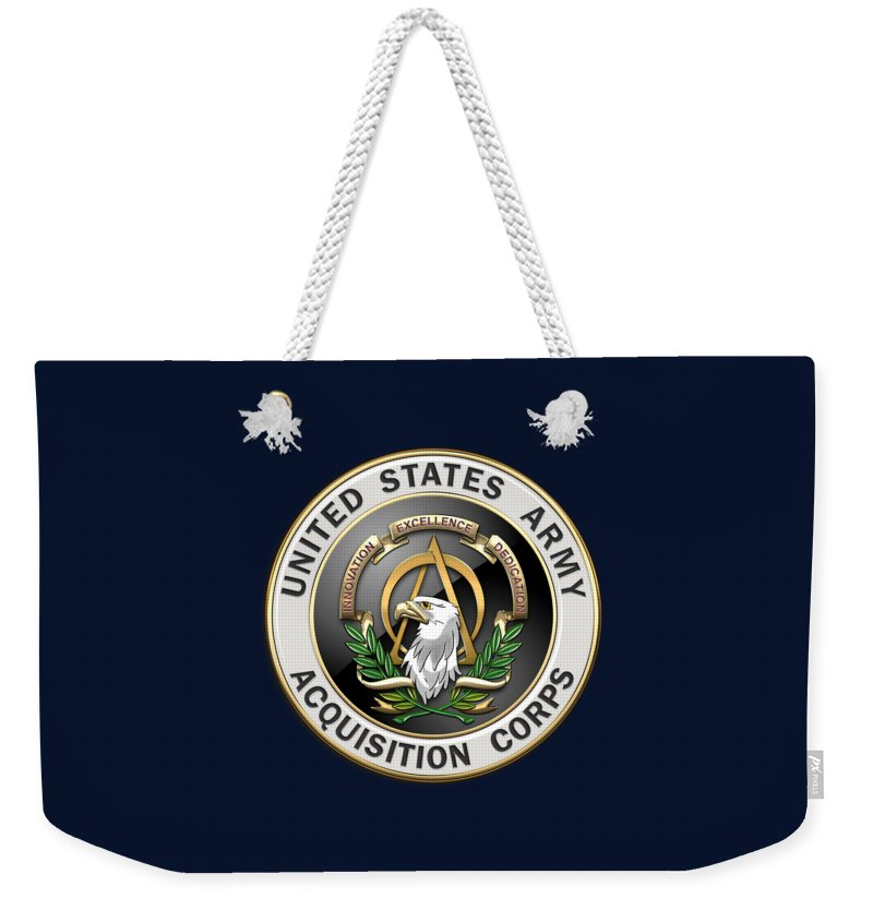 'usmc' Collection By Serge Averbukh Weekender Tote Bag featuring the digital art Acquisition Corps - A A C Branch Insignia Over Blue Velvet by Serge Averbukh