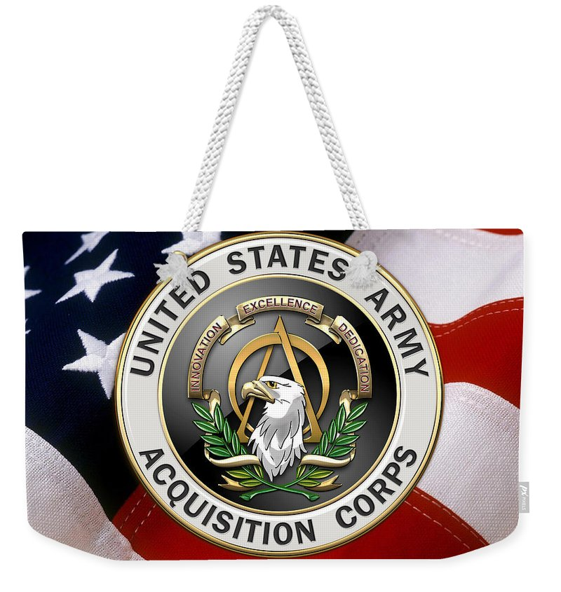 'usmc' Collection By Serge Averbukh Weekender Tote Bag featuring the digital art Acquisition Corps - A A C Branch Insignia Over U. S. Flag by Serge Averbukh