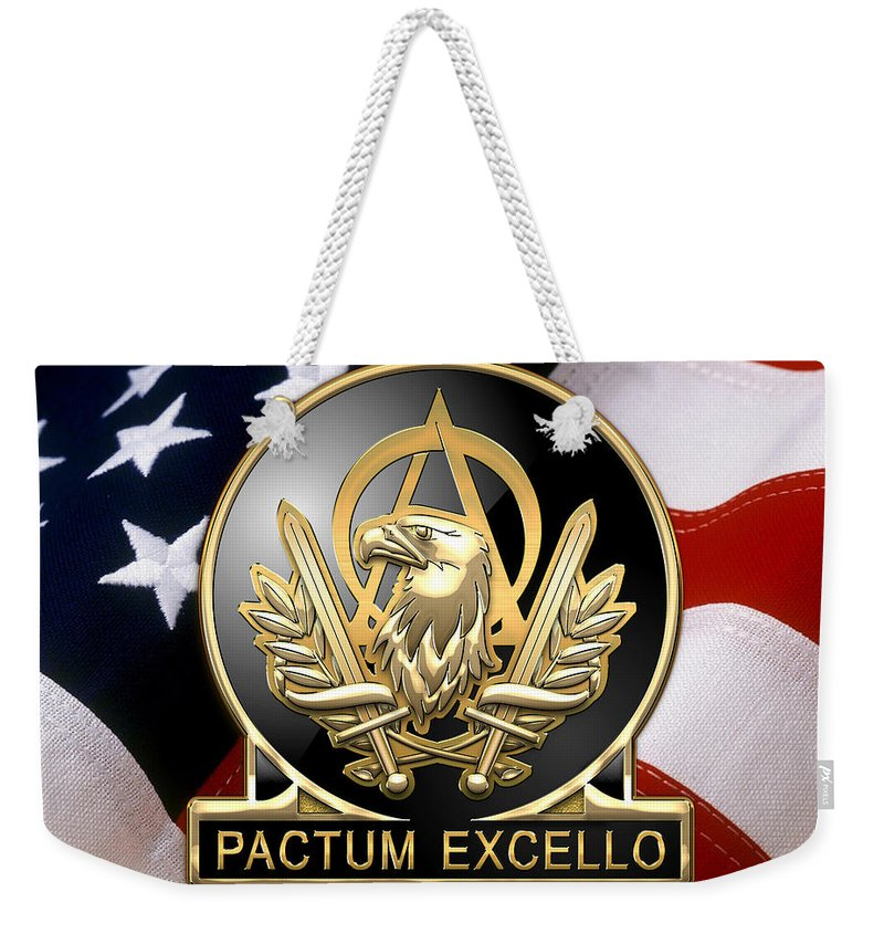 'usmc' Collection By Serge Averbukh Weekender Tote Bag featuring the digital art Acquisition Corps - A A C Regimental Insignia U. S. Flag by Serge Averbukh