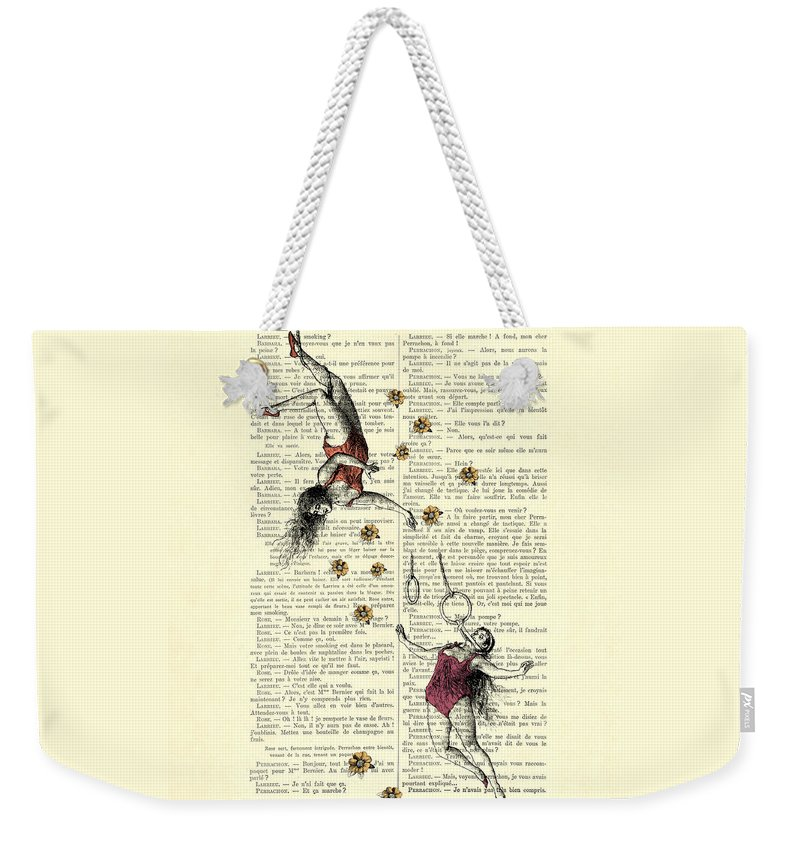 Acrobatics Weekender Tote Bag featuring the digital art Acrobatics Women Circusact Vintage Illustration On Book Page by Madame Memento
