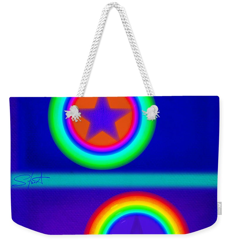 Balance Weekender Tote Bag featuring the painting Acrobats Blue by Charles Stuart