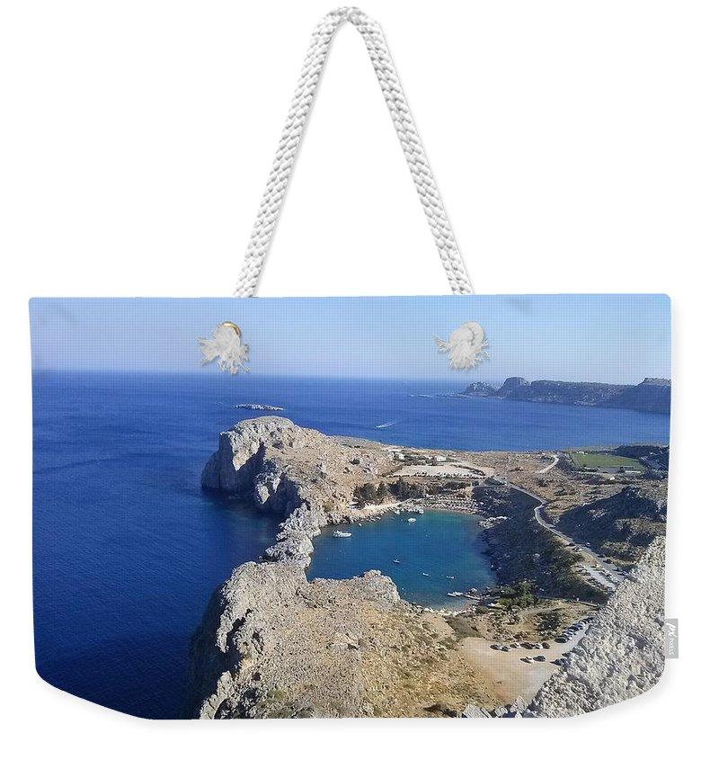 Lindos Weekender Tote Bag featuring the digital art Acropolis Of Lindos Rhodes by Chris Pieper