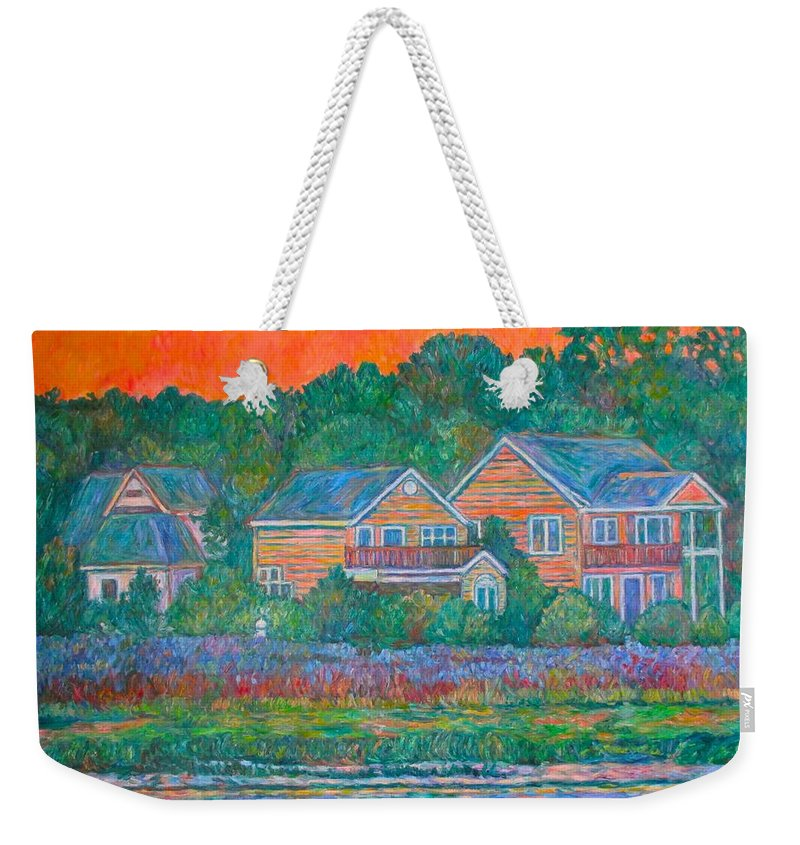 Landscape Weekender Tote Bag featuring the painting Across The Marsh At Pawleys Island    by Kendall Kessler