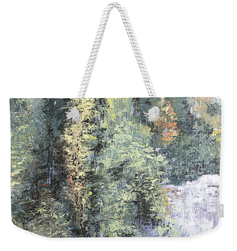 Landscape Weekender Tote Bag featuring the painting Across The Ravine by Todd Blanchard