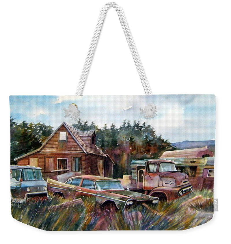 Cars Weekender Tote Bag featuring the painting Across The Road And Gone by Ron Morrison