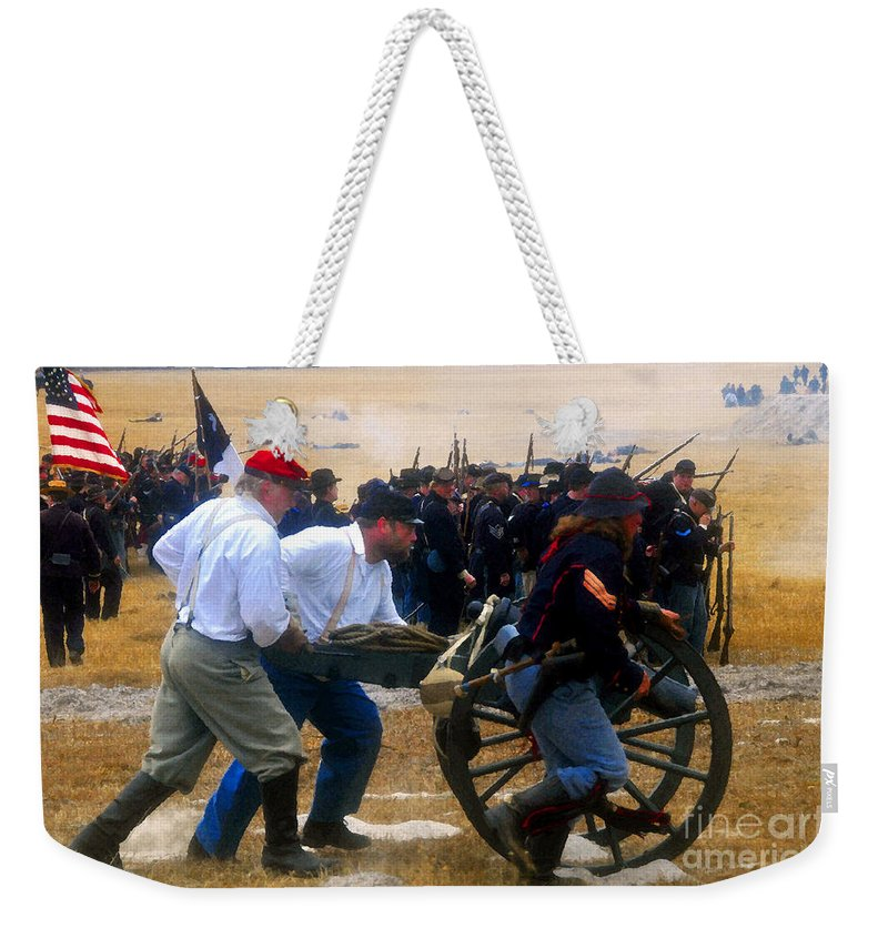 Union Forces Weekender Tote Bag featuring the painting Action At The Front by David Lee Thompson