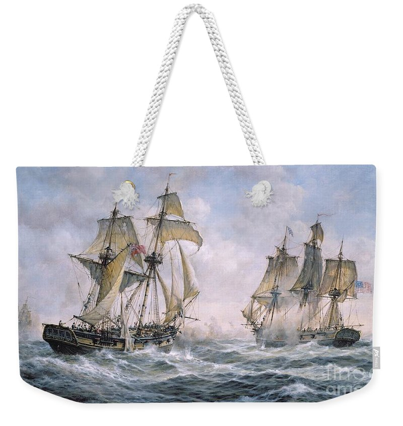 Seascape; Ships; Sail; Sailing; Ship; War; Battle; Battling; United States; Wasp; Brig Of War; Frolic; Sea; Water; Cloud; Clouds; Flag; Flags; Sloop; Action; Wave; Waves Weekender Tote Bag featuring the painting Action Between U.s. Sloop-of-war 'wasp' And H.m. Brig-of-war 'frolic' by Richard Willis