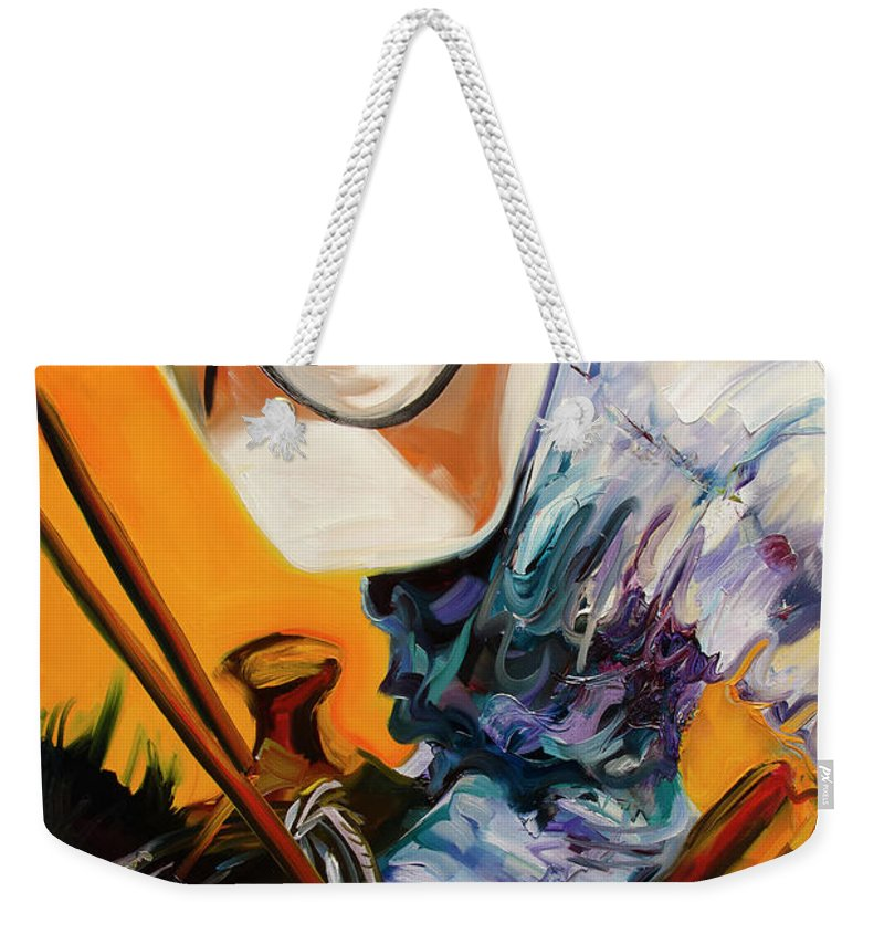 Rodeo Weekender Tote Bag featuring the painting Action Jackson by Diane Whitehead