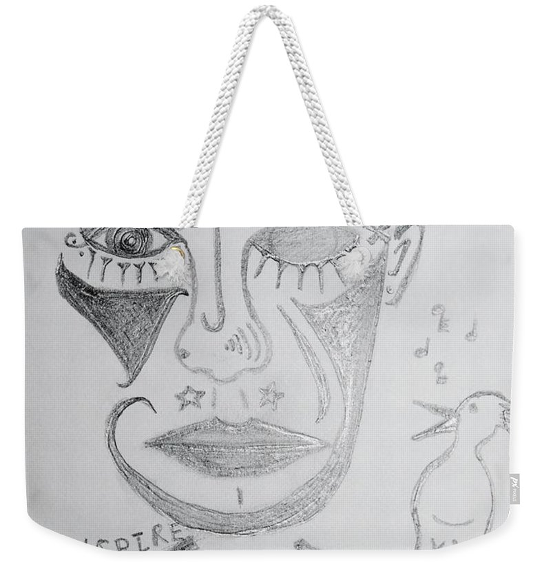 Inspiration Weekender Tote Bag featuring the drawing Action Plan by Lisa Kleiner