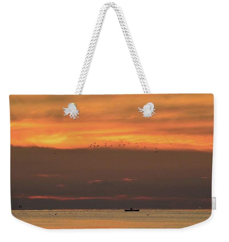Abstract Weekender Tote Bag featuring the photograph Activity On Lake Simcoe by Lyle Crump