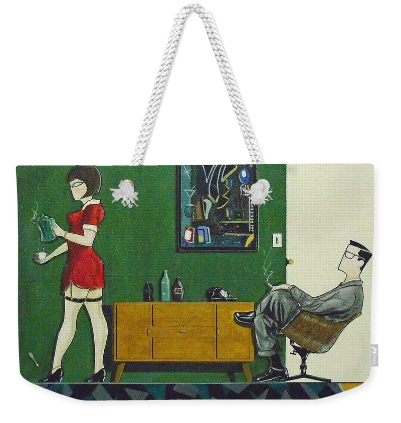 John Lyes Weekender Tote Bag featuring the painting Ad Man Sitting In Chair Steadily Watching Coffee Girl by John Lyes