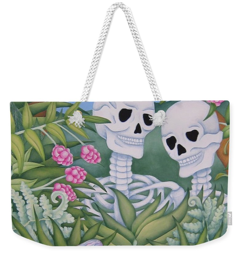 Calavera Weekender Tote Bag featuring the painting Adam And Eve by Jeniffer Stapher-Thomas