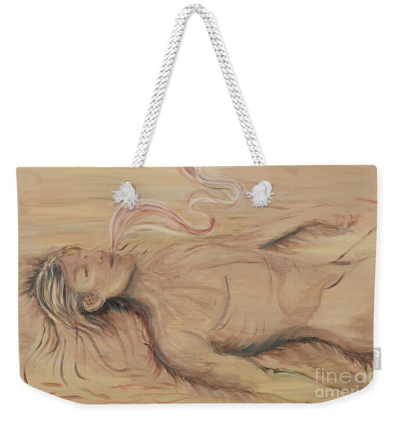 Adam Weekender Tote Bag featuring the painting Adam And The Breath Of God by Nadine Rippelmeyer