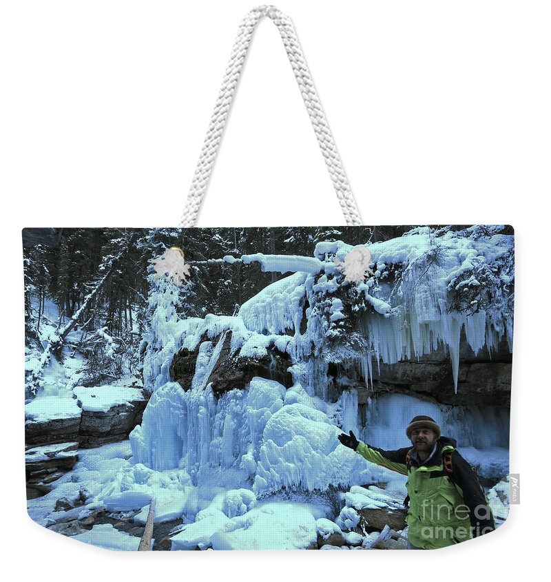 Weekender Tote Bag featuring the photograph Adam Jewell Hiking In Maligne Canyon by Adam Jewell