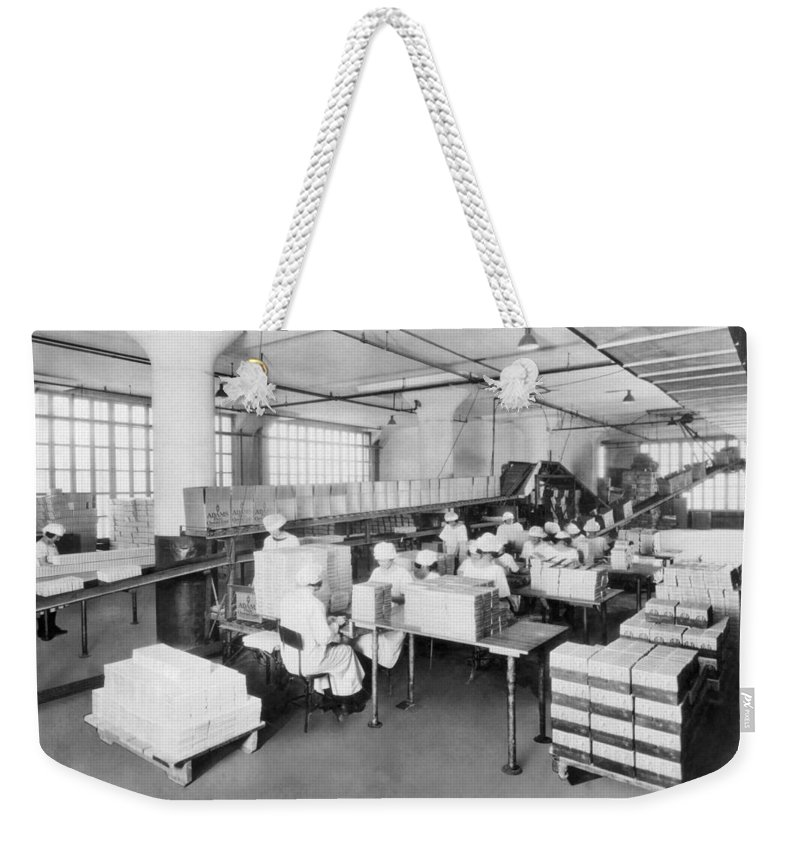 1920s Weekender Tote Bag featuring the photograph Adams Chewing Gum by Underwood Archives