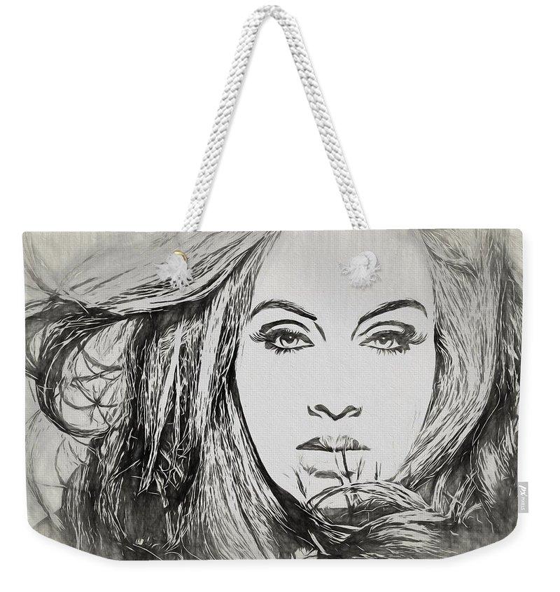 Adele Charcoal Sketch Weekender Tote Bag featuring the drawing Adele Charcoal Sketch by Dan Sproul