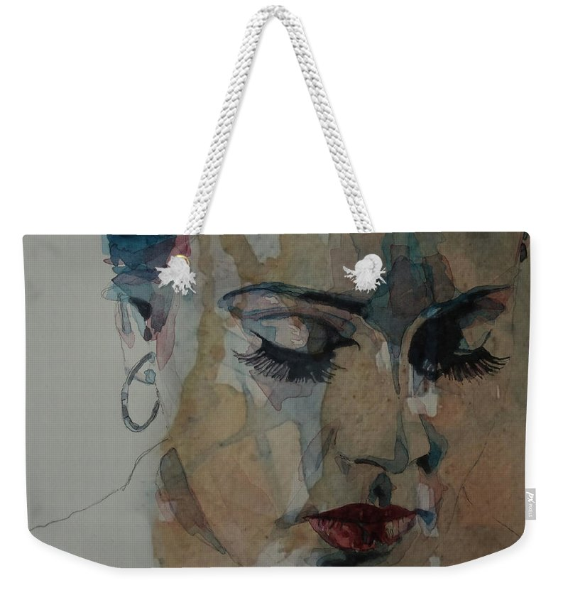 Adele Weekender Tote Bag featuring the painting Adele - Make You Feel My Love by Paul Lovering