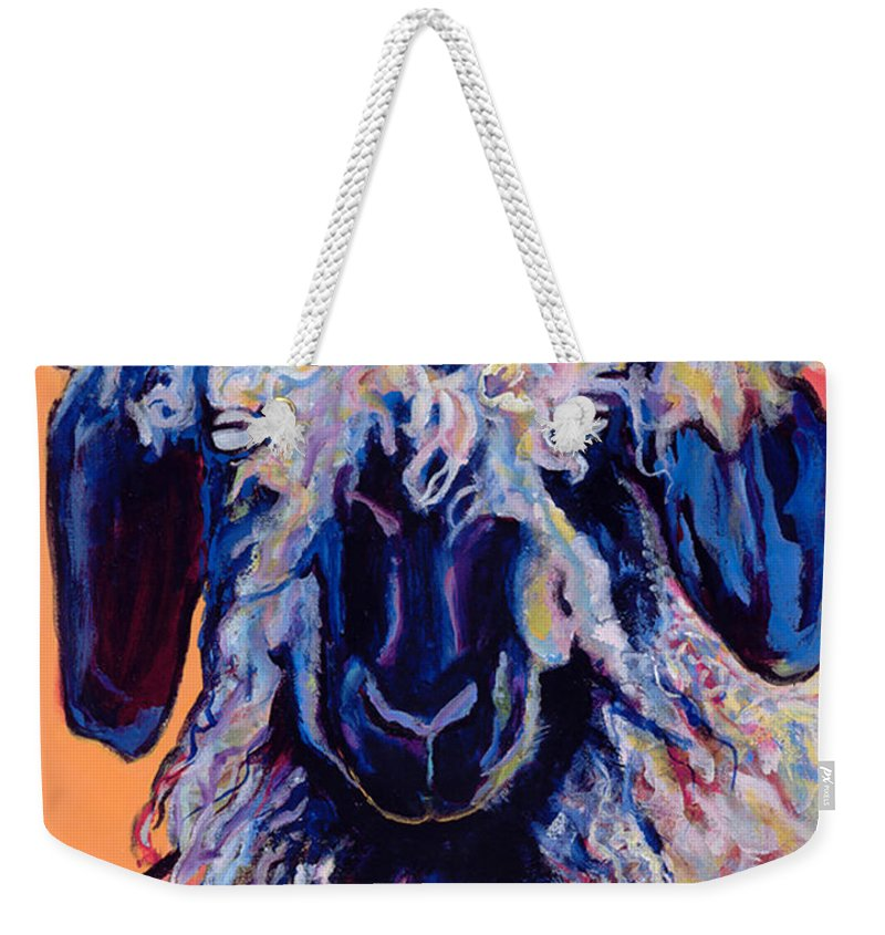 Goat Print Weekender Tote Bag featuring the painting Adelita  by Pat Saunders-White