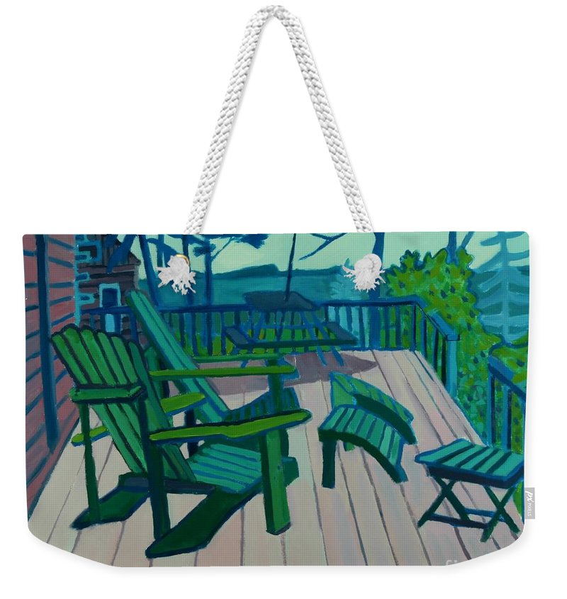 Ocean Weekender Tote Bag featuring the painting Adirondack Chairs Maine by Debra Bretton Robinson